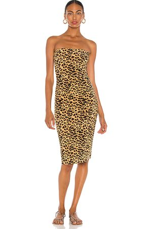 Norma Kamali Strapless Dress in Brown.