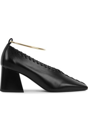 Jil Sander 70 whipstitched leather pumps