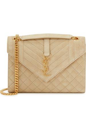 Saint Laurent Women Purses - Envelope stone suede shoulder bag
