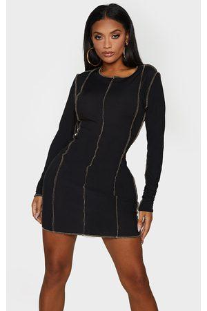 PRETTYLITTLETHING Shape Rib Overlock Seam Detail Bodycon Dress