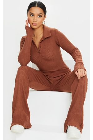 PRETTYLITTLETHING Women Casual Dresses - Petite Chocolate Brushed Rib Polo Long Sleeve Wide Leg Jumpsuit