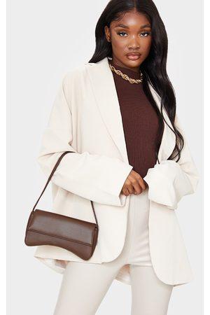 PRETTYLITTLETHING Chocolate PU Flap Over Baguette Shoulder Bag