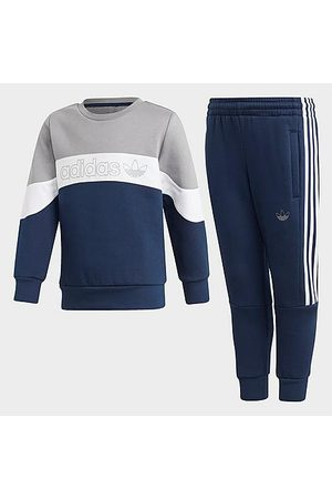adidas Boys' Toddler and Little Kids' Originals Sport 2.0 Crew Sweatshirt and Jogger Pants Set in Grey/ /Collegiate Navy
