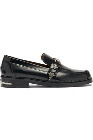 TOGA VIRILIS Men Loafers - Metal-plaque Leather Loafers - Mens