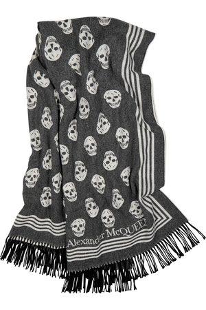 Alexander McQueen Biker skull-jacquard wool-blend scarf