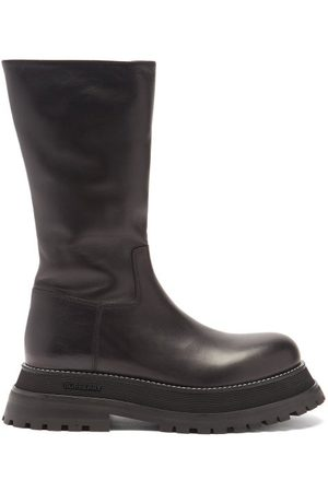 Burberry Women Thigh High Boots - Jeffy Flatform-sole Leather Boots - Womens