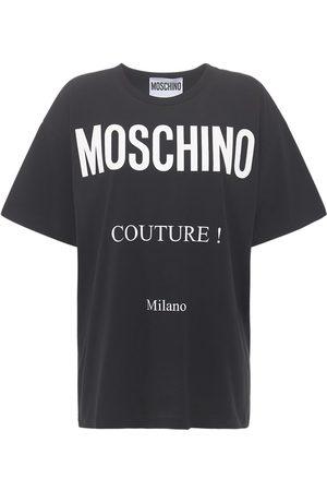 Moschino Couture Milan Logo Cotton Jersey T-shirt