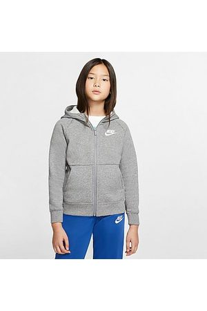 Nike Girls' Sportswear Full-Zip Hoodie in Grey/ Carbon Heather