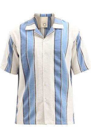 Marrakshi Life Cuban-collar Striped Cotton-blend Shirt - Mens - Multi