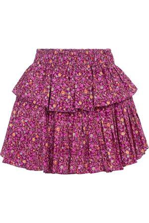 LOVESHACKFANCY Floral ruffle cotton miniskirt