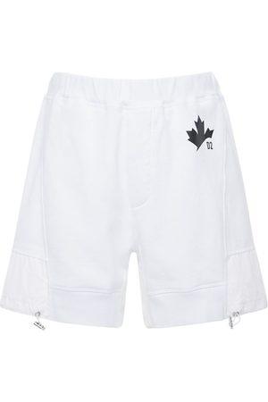 Dsquared2 Maple Leaf Print Jersey Sweat Shorts
