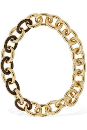 Jil Sander Eclipse Chain Short Necklace W/ Wood