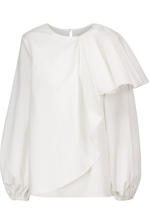 Carolina Herrera Asymmetric ruffled stretch-cotton blouse