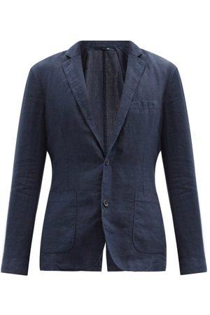 120% Lino Men Blazers - 120% Lino - Single-breasted Linen Jacket - Mens - Navy