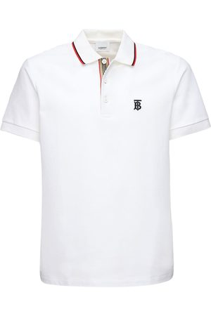 Burberry Men Polo Shirts - Tb Logo Embroidery Cotton Piqué Polo