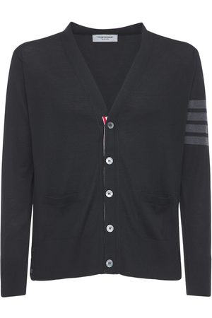 Thom Browne Men Cardigans - Intarsia Stripes Wool Cardigan