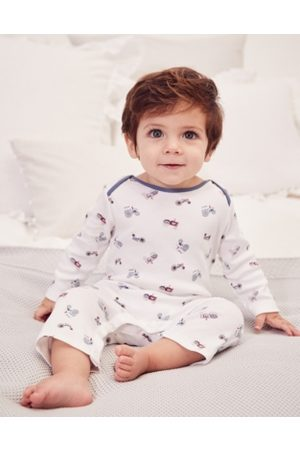 The White Company Tractor-Print Sleepsuit