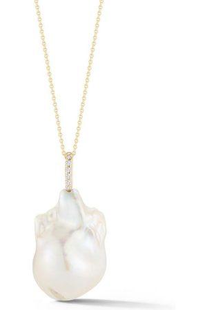Mateo Women Necklaces - 14kt and Diamonds Baroque Pearl Necklace