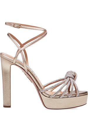 Aquazzura Women Sandals - Women's Celeste Sandal Plateau Platforms - Light Copper - Size 7.5