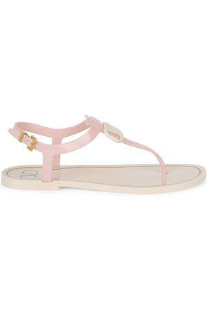 VALENTINO Women's Patent Thong Sandals - Rose Quartz - Size 11