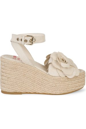 VALENTINO Women's Atelier Woven Flower Espadrille Wedge Sandals - Natural - Size 11.5