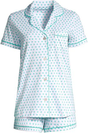 Roller Rabbit Women Polo Shirts - Women's 2-Piece Hearts Polo Pajama Set - Mint - Size XS
