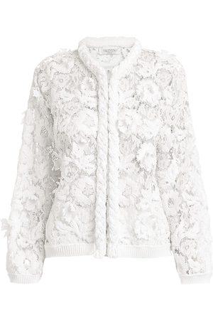 VALENTINO Women Jackets - Women's Lace Embroidered Jacket - Bianco - Size XL