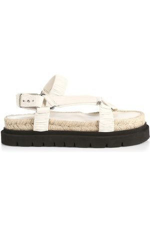 3.1 Phillip Lim Women's Noa Croc-Embossed Leather Platform Sport Sandals - Creme Brulee - Size 11
