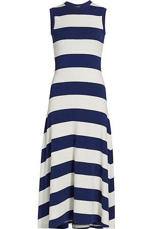Polo Ralph Lauren Women Knitted Dresses - Women's Striped Knit Sleeveless Cotton Dress - Navy - Size XL