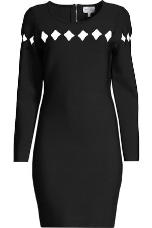Milly Women Party Dresses - Women's Scallop Cutout Long-Sleeve Dress - - Size Small