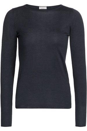 Brunello Cucinelli Women Long sleeves - Women's Cashmere & Silk Boatneck Long-Sleeve Shirt - Midnight - Size XXL