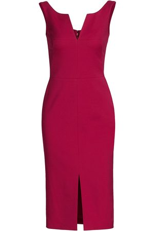 Alexander McQueen Women Pencil Dresses - Women's Sleeveless Scoopneck Wool-Blend Pencil Dress - Dahlia - Size 0