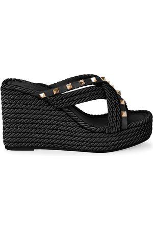 VALENTINO Women Sandals - Women's Torchon Rockstud Slide Espadrille Wedges - Nero - Size 11