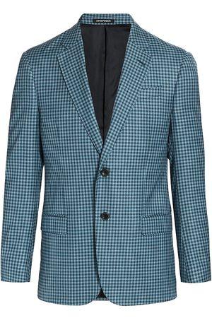 Armani Men Blazers - Men's Gingham Check Wool Sportcoat - Teal - Size 38 R
