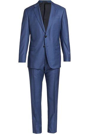 Armani Men Suits - Men's Plaid Wool Suit - Navy - Size 44