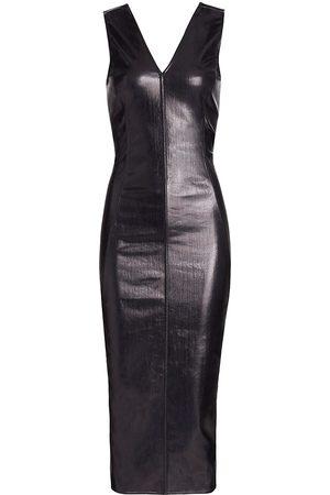 Rick Owens Women's V-Neck Stretch Shine Denim Midi Dress - Scarab - Size 2