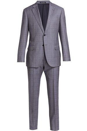 Armani Men's Plaid Wool Suit - Solid Dark Grey - Size 40 R