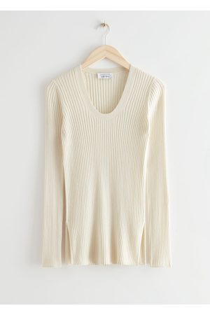 & OTHER STORIES Fitted Mulberry Silk Blend Rib Jumper