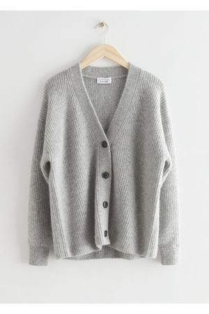 & OTHER STORIES Relaxed Alpaca Blend Rib Cardigan - Grey