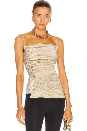 Paco rabanne Button Down Ruched Top in Metallic