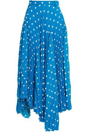 Balenciaga Woman Asymmetric Pleated Polka-dot Crepe Midi Skirt Size 34