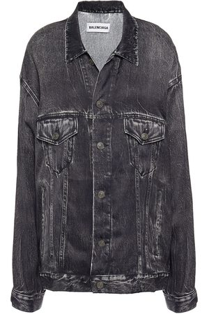 Balenciaga Women Denim Jackets - Woman Oversized Denim-effect Twill Jacket Charcoal Size M