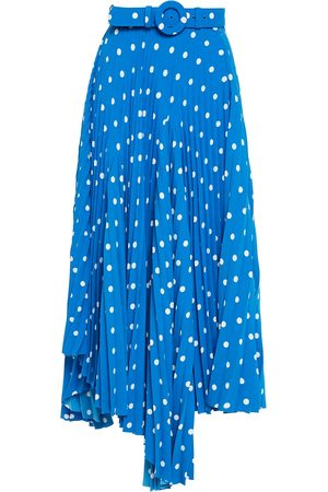 Balenciaga Women Midi Skirts - Woman Asymmetric Belted Pleated Polka-dot Crepe Midi Skirt Cobalt Size 34