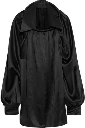 Balenciaga Woman Ring-embellished Gathered Silk-satin Blouse Size 38