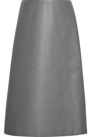 Balenciaga Women Leather Skirts - Woman Faux Leather Midi Skirt Size 38