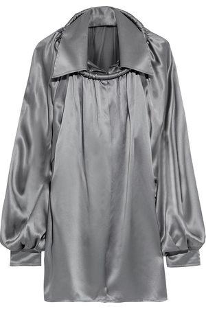 Balenciaga Woman Ring-embellished Gathered Silk-satin Blouse Gunmetal Size 40
