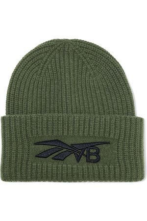 Reebok Women Beanies - Woman Embroidered Ribbed Wool And Cashmere-blend Beanie Army Size ONESIZE