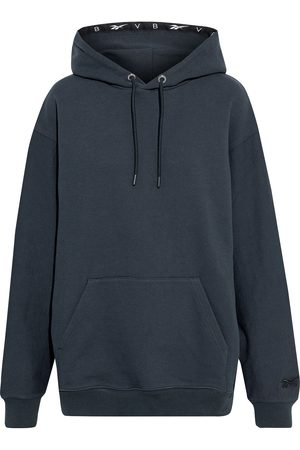 Reebok Woman Oversized French Cotton-terry Hoodie Midnight Size 32