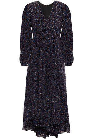 Maje Woman Asymmetric Flocked Floral-print Tulle Midi Dress Size 1