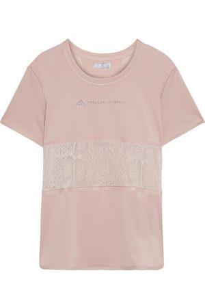 adidas Woman Mesh-paneled Printed Stretch T-shirt Antique Rose Size L